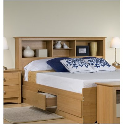 Prepac Sonoma Full / Queen Bookcase Headboard in Maple Finish
