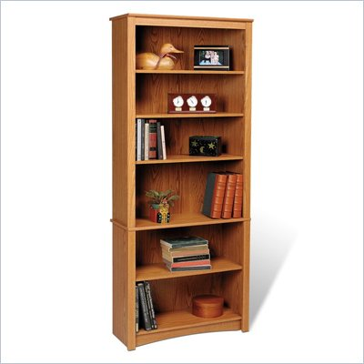 "Prepac Sonoma 6 Shelf 77""H Wood Bookcase in Oak"