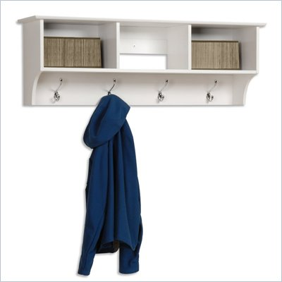 Prepac Sonoma White Cubbie Shelf Wall Coat Rack for Entryway