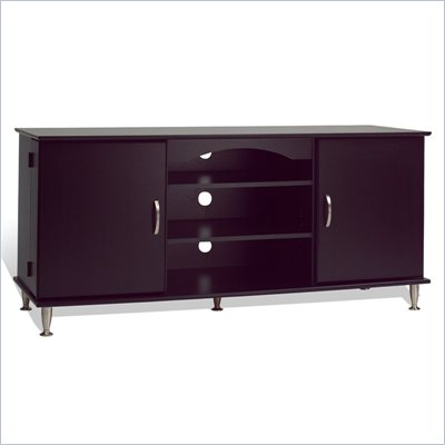 "Prepac 60"" Plasma TV Stand with Media Storage in Black Finish"