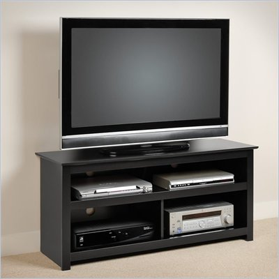Prepac Vasari Flat Panel Plasma / LCD Console in Black Finish
