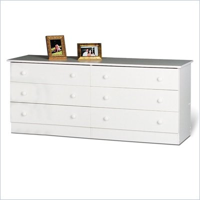 Prepac White Six Drawer Double Dresser in White