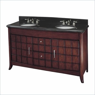 Minka Lighting Vanity with 2 Sinks in Cherry with Mongolian Black Stone Countertop