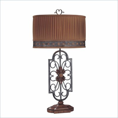 Minka Lighting 1 Light Table Lamp Ambience in Brown and Grey with Cinnabar Pleated Shade