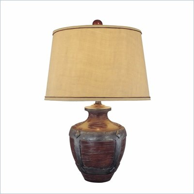 Minka Lighting 1 Light Table Lamp Ambience in Dark Espresso with Beige Shade
