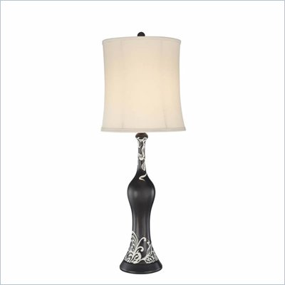 Minka Lighting 1 Light Table Lamp Ambience in Black with Champagne Shade