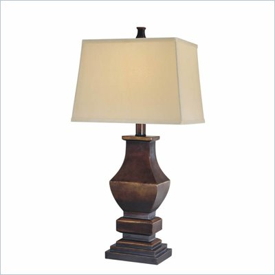 Minka Lighting 1 Light Table Lamp Ambience in Brown Gold with White Shade