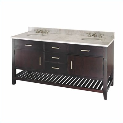 Minka Lighting Vanity with 2 Sinks Ambience in Dark Coffee with White Granite Countertop