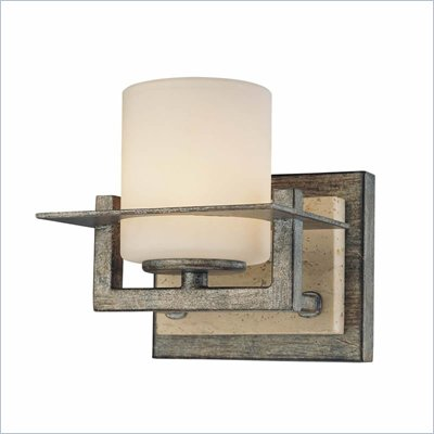 Minka Lighting Compositions 1 Light Bath Minka Lavery in Aged Patina Iron with Travertine Stone with Etched Opal Glass