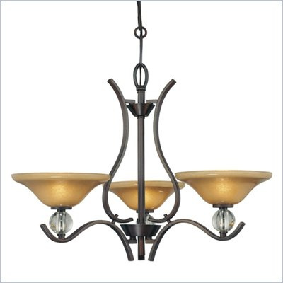Minka Lighting Grahmton 3 Light Chandelier Minka Lavery in Deep Lathan Bronze with Mottled Topaz with Eidolon Krystal Glass