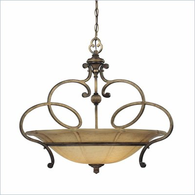 Minka Lighting La Cecilia 3 Light Pendant Minka Lavery in Patina Iron with Spumanti Lace Glass