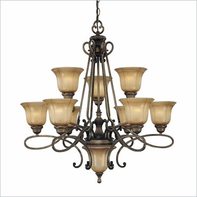 Minka Lighting La Cecilia 10 Light Chandelier Minka Lavery in Patina Iron with Spumanti Lace Glass