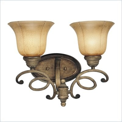 Minka Lighting La Cecilia 2 Light Bath Minka Lavery in Patina Iron with Spumanti Lace Glass
