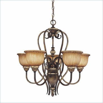 Minka Lighting Raffine 5 Light Chandelier Minka Lavery in Raffine Aged Patina with Toned Spumanti Strato Glass
