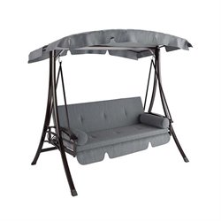 CorLiving Nantucket Patio Swing with Arched Canopy in Charcoal Gray