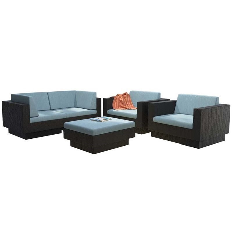 CorLiving Park Terrace 5 Piece Patio Sofa Set in Black Weave and Teal