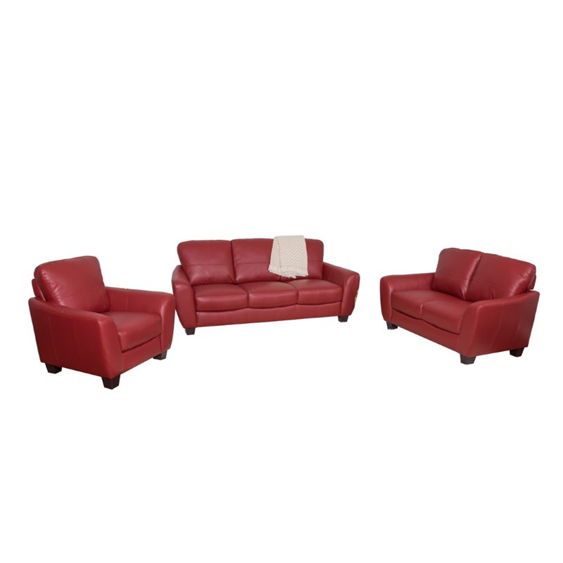 Jazz 3 piece Bonded Leather Sofa Set in Red