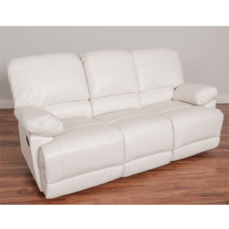 Lea Bonded Leather Reclining Sofa in White