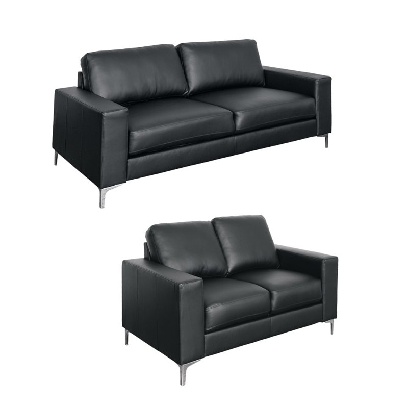 Cory 2 piece Contemporary Bonded Leather Sofa Set in Black