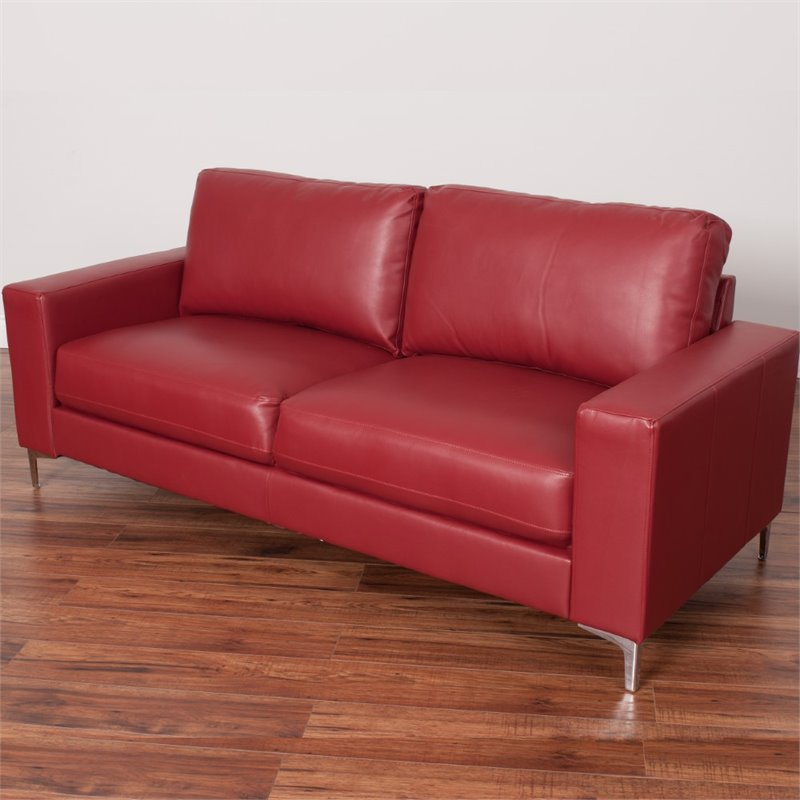 Cory Contemporary Bonded Leather Sofa in Red