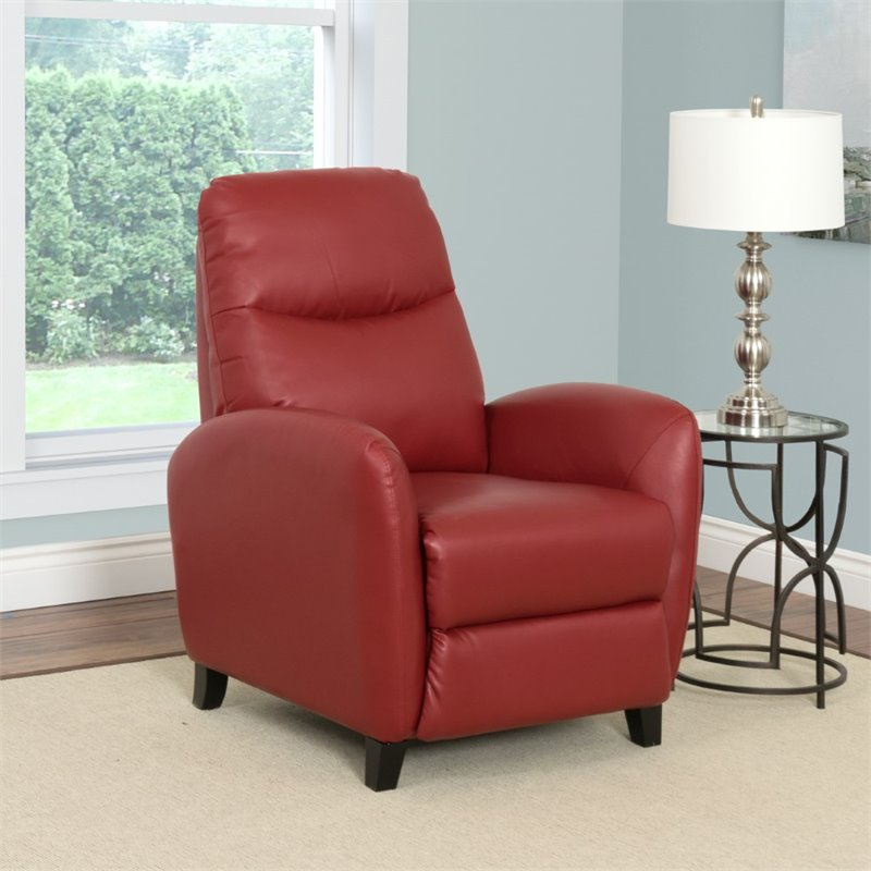 Ava Bonded Leather Recliner In Red