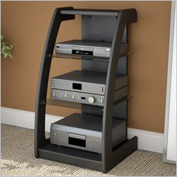 Shelves Ikea: Discount Price   Sonax Milan Black Three Shelf Component Stand