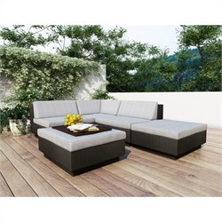 Corliving Park Terrace 5 Piece Sectional Patio Set in Black