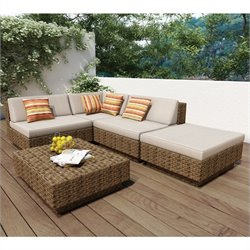 Corliving Park Terrace 5 Piece Outdoor Sofa Set in Saddle Strap Weave