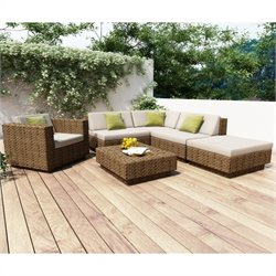Corliving Park Terrace 6 Piece Outdoor Sofa Set in Saddle Strap Weave