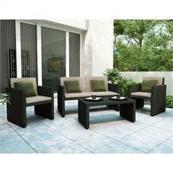 Corliving Creekside 4 Piece Outdoor Sofa Set in Charcoal Black Weave