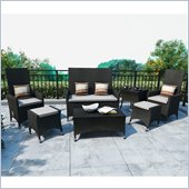 Sonax Cascade 7 Piece Patio Set in River Rock Black Weave