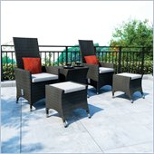 Sonax Cascade 5 Piece Patio Set in River Rock Black Weave