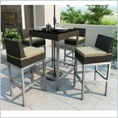 Sonax Lakeside Bar Height Patio Set in River Rock Black Weave