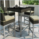 Sonax Lakeside Bar Height Patio Table in River Rock Black Weave