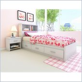 Sonax Willow Single Storage Bed with Bookcase Headboard in Frost White