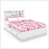 Sonax Willow Double Storage Bed with Bookcase headboard in Frost White