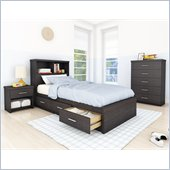Sonax Willow Single Storage Bed w/ Headboard in Ravenwood Black