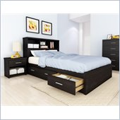 Sonax Willow Double Storage Bed with Headboard in Ravenwood Black