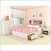 Sonax Willow Queen Storage Bed with Bookcase Headboard in Frost White