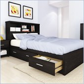 Sonax Willow Queen Storage Bed with Bookcase in Ravenwood Black