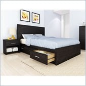 Sonax Willow Storage Bed with Panel Headboard in Ravenwood Black
