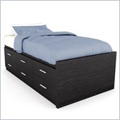 Sonax Willow Captain's Storage Bed with Panel Headboard in Ravenwood Black