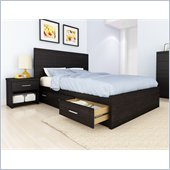 Sonax Willow Storage Bed 3 Piece Bedroom Set in Ravenwood Black