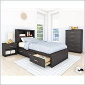Sonax Willow Storage Bed 4 Piece Bedroom Set in Ravenwood Black
