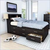 Sonax Willow Captain's Storage Bed 3 Piece Bedroom Set in Ravenwood Black