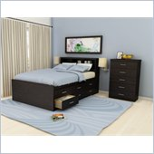 Sonax Willow Captain's Storage Bed 4 Piece Bedroom Set in Ravenwood Black