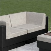 Sonax Textured Black L Seat in Black Resin Rattan