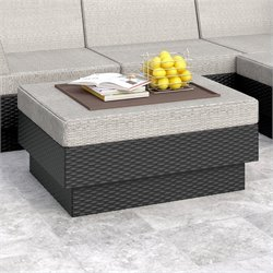 Corliving Park Terrace Ottoman in Textured Black