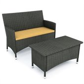 Sonax Cascade Sofa and Coffee Table in River Rock Black Weave