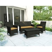 Sonax Cascade 4 Piece Patio Set in River Rock Black Weave